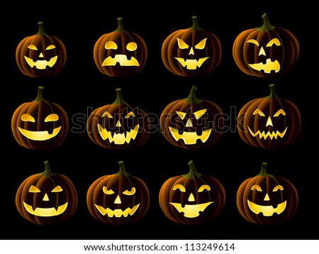 Set of Jack-o-lanterns isolated on black - stock vector
