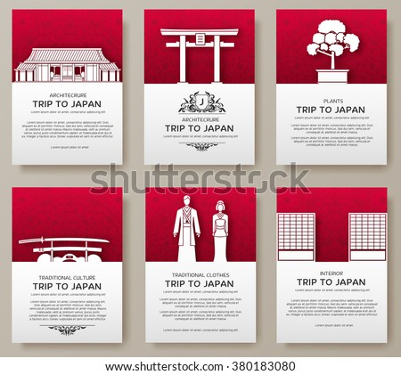 Set of Japan country ornament illustration concept. Art traditional, poster, book, poster, abstract, ottoman motifs, element. Vector decorative ethnic greeting card or invitation design background. - stock vector