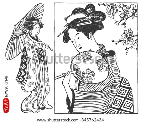 Set of Japan design elements. Geisha Woman / japanese girls Illustration. Hand drawn vector illustration.  - stock vector