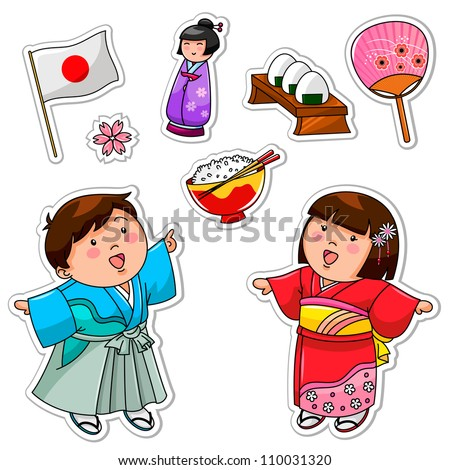 set of Japanese children and symbols (JPEG version available in my gallery) - stock vector
