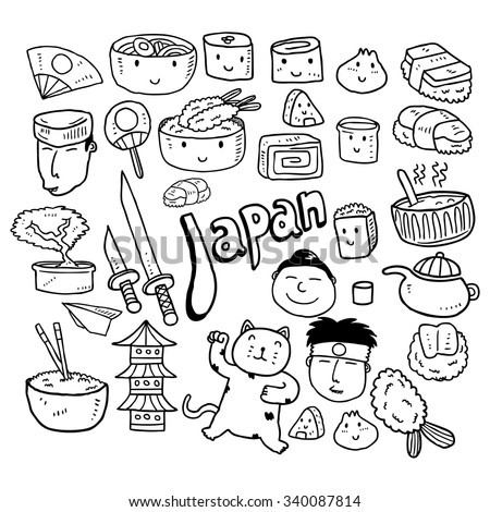 set of Japanese food doodle - stock vector