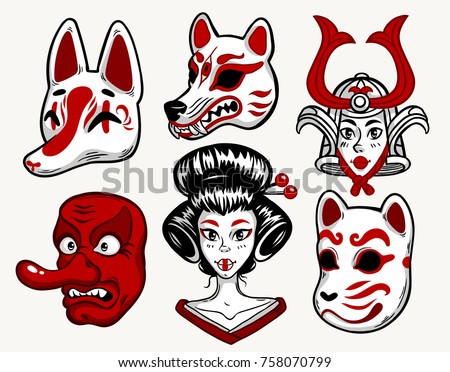set of japanese mask fox wolf cat tengu and girl isolated