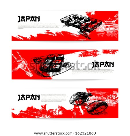 Set of Japanese sushi banners. Sketch illustrations - stock vector