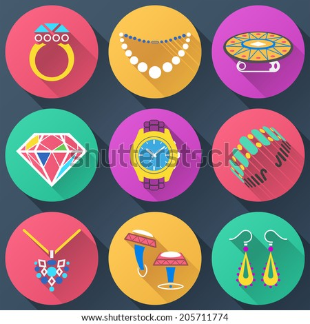 Set of jewelry flat icons. Collection of color icons for luxury industry. Qualitative vector (EPS-10) symbols about jewellery, accessories, fashion, luxury, precious metal wares, etc - stock vector