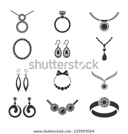 Set of jewelry icons. - stock vector