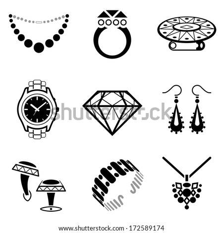 Set of jewelry icons. Collection of black-white icons for luxury industry. Qualitative vector (EPS-10) symbols about jewellery, accessories, fashion, luxury, precious metal wares, etc - stock vector