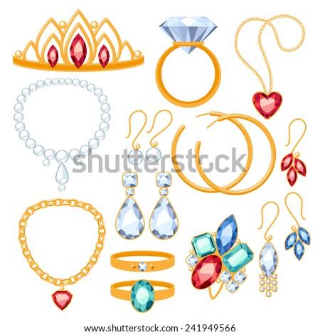 Set Jewelry Items Gold Gemstones Precious Stock Vector