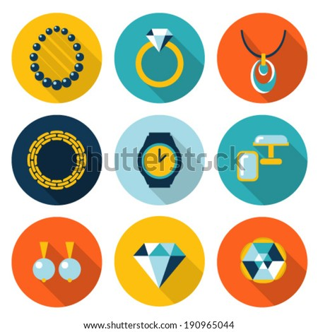 Set of jewelry vector flat icons - stock vector