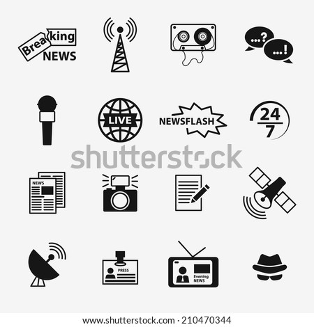 Set of journalism related icons including newspaper, tv, microphone, camera, breaking news, newsflash, reporter hat, live news, article, broadcasting - stock vector