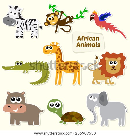 Set of jungle animals. Cute cartoon African animals. Vector illustration - stock vector