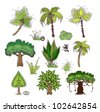"""set of jungle trees """"Happy world"""" collection - stock vector"""