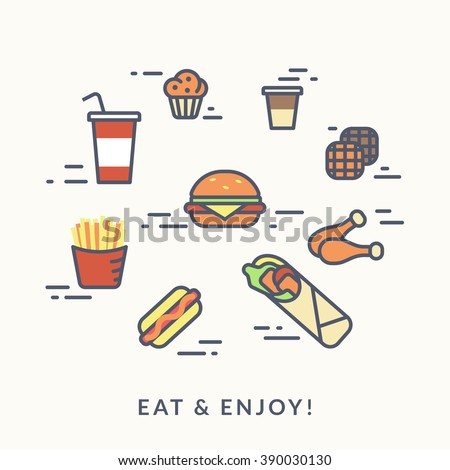 Set of junk food contour icons such as burger with hotdog, chicken with french fries and coffee with wafer and muffin. Flat line illustration isolated on white - stock vector