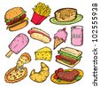 set of junk food doodle - stock vector
