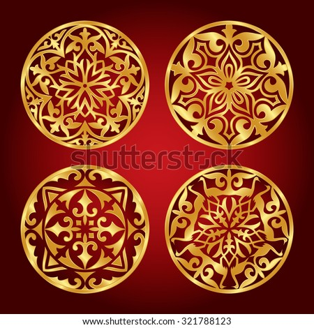 Set of Kazakh national gold ornaments and patterns