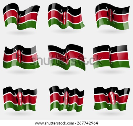 Set of Kenya flags in the air. Vector illustration - stock vector