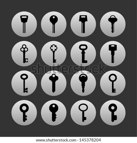Set of key icons - stock vector