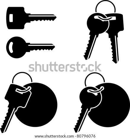 set of keys. stencil. third variant - stock vector
