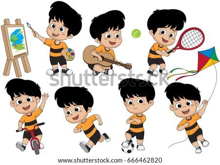 set of kid activitykid painting a pictureplaying a guitarplaying a - Picture For Kid Painting