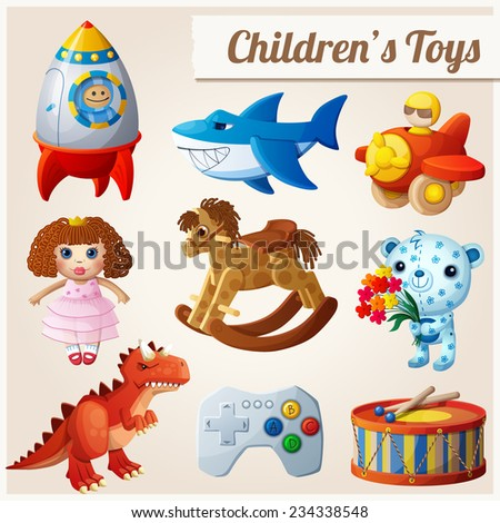Set of kid's toys. Part 2. Cartoon vector illustration. - stock vector