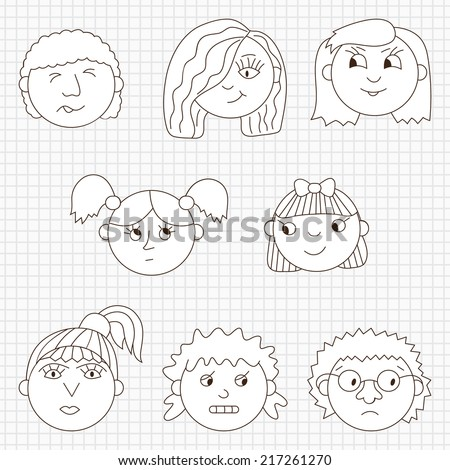 Set of kids faces. Girls