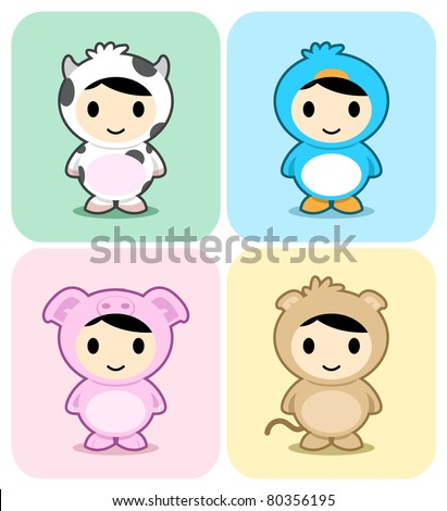 Set of kids in cute animal costumes. See my portfolio for other cute animal - stock vector