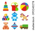 set of kids toys in a flat style. - stock vector