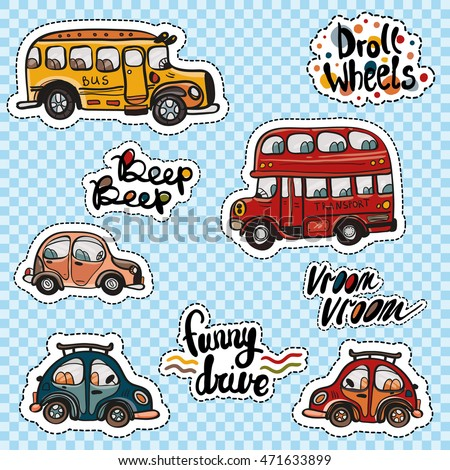 Set of kids transport patches cars buses funny inscriptions vector pop art