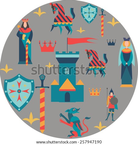 set of king, queen, castle, sword, shield, soldier, dragon and crown - stock vector