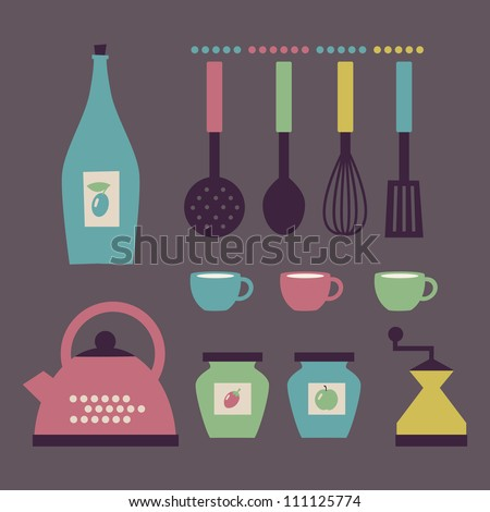 Set of kitchen accessories in retro style. Vector illustration. - stock vector