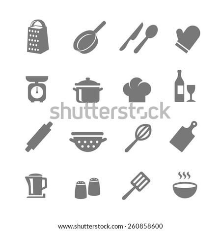 Set of kitchen and cooking icons. Set of kitchen and cooking icons. Saucepan and pans, bottle and wine glass, fork and knife, Vector illustration - stock vector
