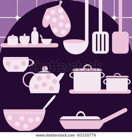 Set of kitchen appliances - stock vector