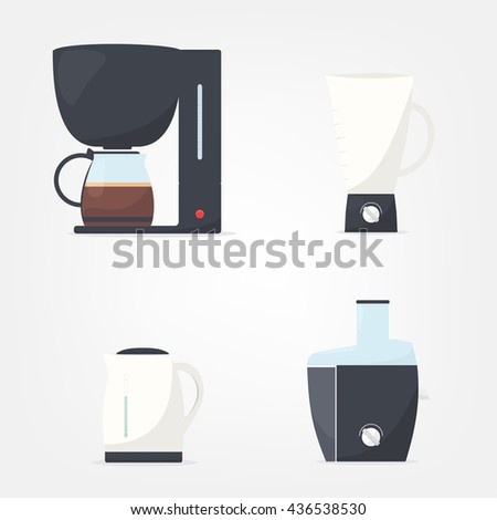 Set of kitchen appliances. Coffee machine - stock vector