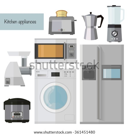 Set of kitchen appliances flat icons with a washing machine, fridge,microwave, kettle coffee machine,toaster,mincer,blender,Multicooker - stock vector