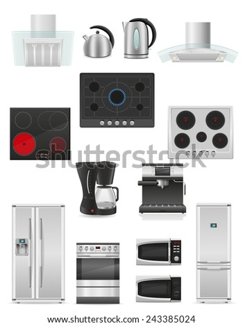 set of kitchen appliances vector illustration isolated on white background - stock vector