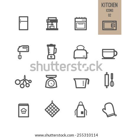 Set of kitchen icon. Vector illustration. - stock vector