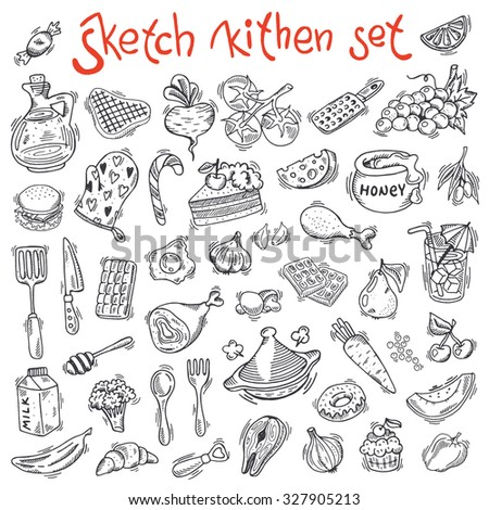 Set of kitchen icons. Can be used for menu, background and other design.