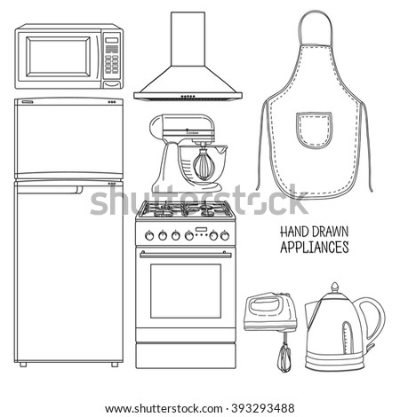 Set of kitchen tools. Kitchen household furniture in a linear style. Silhouette of kitchen tools and accessories. Appliances for kitchen interior. Vector - stock vector