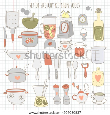 Set of kitchen tools on notebook paper. EPS 10. No transparency. No gradients.