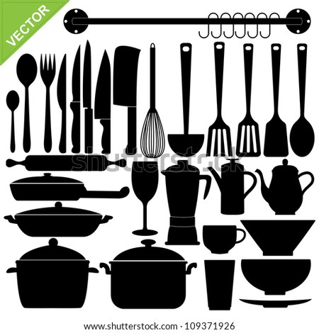 Set kitchen tools silhouettes vector stock vector 109371926 set of kitchen tools silhouettes vector teraionfo