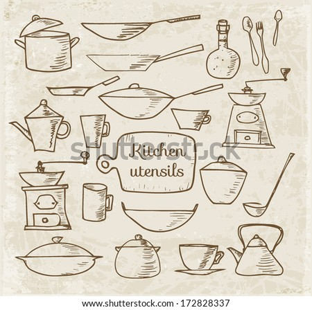 Set of kitchen tools sketches, hand-drawn in vintage style. Vector illustration.