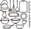 set of kitchen utensil - stock photo