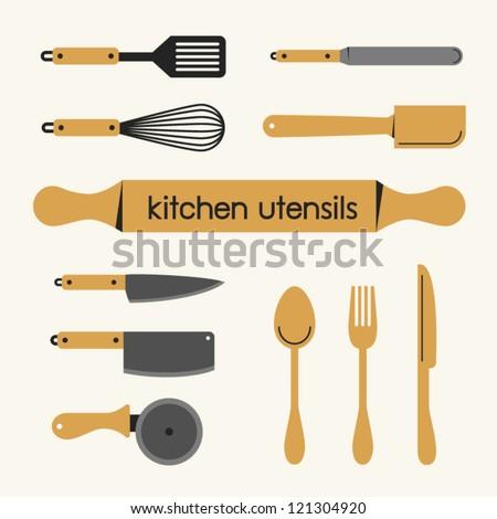 Set of Kitchen utensil - stock vector