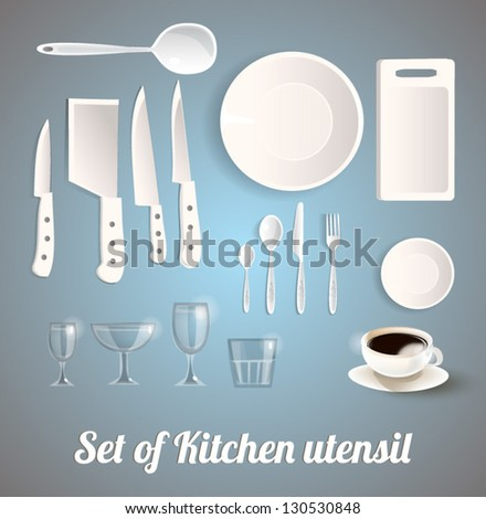 Set of Kitchen utensil - stock vector