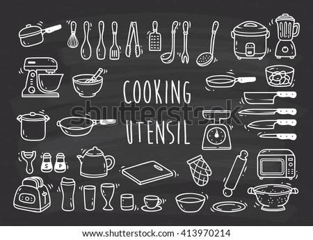 Set of kitchen utensil doodle - stock vector