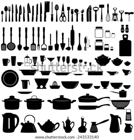 Set of kitchen utensils and appliances - stock vector