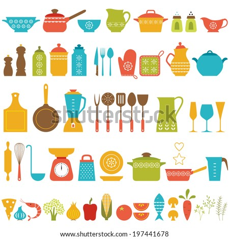 Set of kitchen utensils and food for cooking. - stock vector