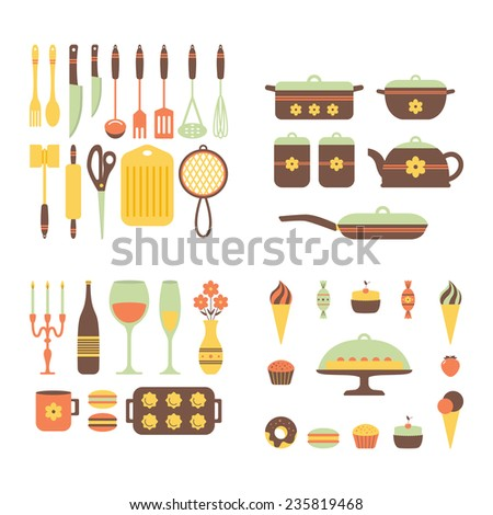 Set of kitchen utensils and food, isolated objects. Background for a cookbook. Space for text, prescriptions. Cookware, home cooking background. Kitchenware icons. Modern design. Vector illustration. - stock vector