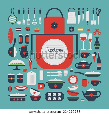 Set of kitchen utensils and food, isolated objects. Background for a cookbook. Space for text and recipes. Cookware, home cooking background. Kitchenware icons. Modern design. Vector illustration. - stock vector