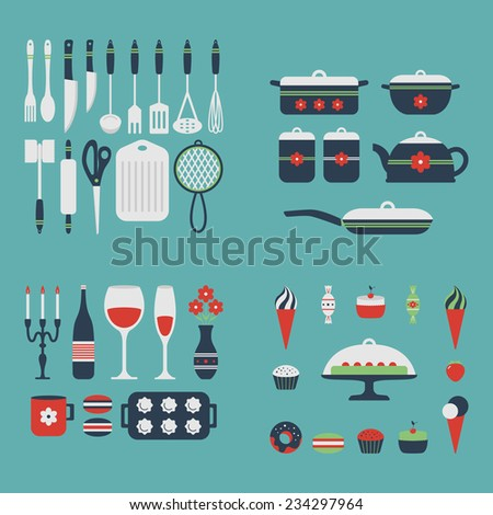 Set of kitchen utensils and food, isolated objects. Cookware, home cooking background. Kitchenware icons. Modern design. Vector illustration. - stock vector