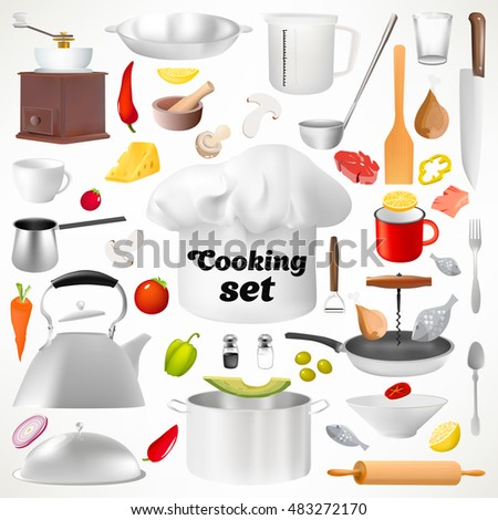 Captivating Set Of Kitchen Utensils. Isolated Items. Culinary Set. Kitchen Ware. Cooku0027s  Cap